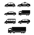 Black isolated cars set vector