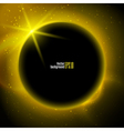 Eclipse planet in space in yellow rays of light vector