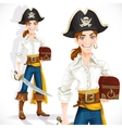 Cute pirate with cutlass and chest vector