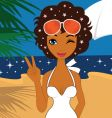 Beauty on the beach vector