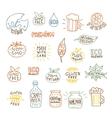 Set of hand drawn natural badges and labels vector