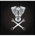 Silver combustion engine on metal background vector