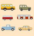 Retro transport icons set vector