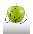 Stethoscope and green apple medical background vector