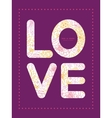 Flowers outlined love text frame pattern vector