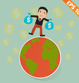 Cartoon businessman on the earth and falling money vector