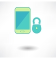 White smart phone infographic element with lock vector