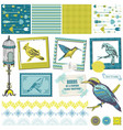 Scrapbook design elements - vintage birds set vector
