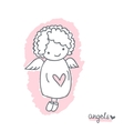 Sketch with cute angel vector