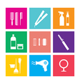 Flat design hairdressing icons set 9 vector