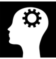 Silhouette of a mans head with a picture of the m vector