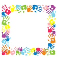 Frame made from color handprints vector