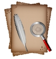 Old paper white feather and magnifer vector