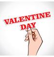 Valentine day word in hand vector