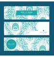 Soft peacock feathers horizontal banners set vector