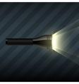 Flashlight on dark striped background vector