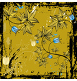 Grunge background with leafs and flowers vector