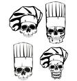 Skull in toque set vector