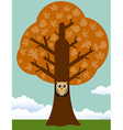 Autumn tree with owl vector