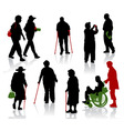 Old and disabled people vector