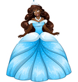 African princess in blue dress vector