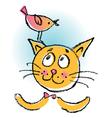 Cat with bird cartoon vector