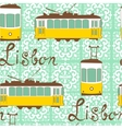 Colorful seamless pattern with tipical lisbon tram vector