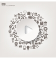Play button icon flat abstract background with vector