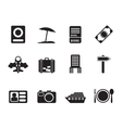 Silhouette travel and holiday icons vector