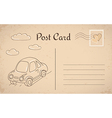 Vintage postcard with car and clouds vector