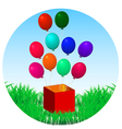 Balloons fly out of gift box on green grass vector
