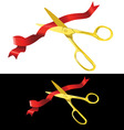 Scissors cutting ribbon vector