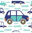 Colorful seamless pattern with cars and clouds vector