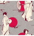Traditional japanese geisha seamless pattern vector