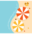 Beach summer background with umbrellas vector