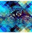 Grunge ornament pattern on pixel background vector