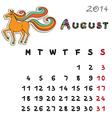 Color horse calendar 2014 august vector