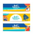 Set of summer banners with beautiful women vector