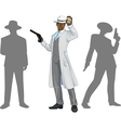 Afroamerican police chief and people silhouettes vector