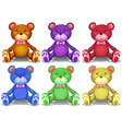 Colorful teddy bears vector