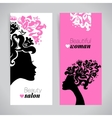 Banners of beautiful women silhouettes with vector