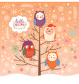 Cute owls on the tree christmas background vector