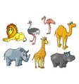 Cartoon african wild animals and birds characters vector