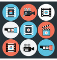 Set of movie and video flat circle icons vector