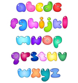 Fat bubble lower case alphabet vector