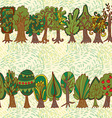 Seamless hand-drawn pattern with doodle forest vector