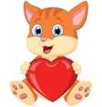 Cartoon cat holding red heart vector