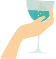 Female hand holding glass with red wine vector