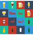 Flat set of beer glass and bottles icons vector