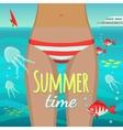 Summer girl under water vector